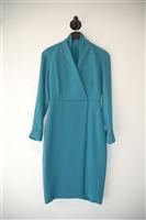 Deep Teal Max Mara Faux-Wrap Dress, size 4