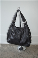 Black Leather Coach Hobo, size L