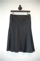 Black Satin Theory Flared Skirt, size 2