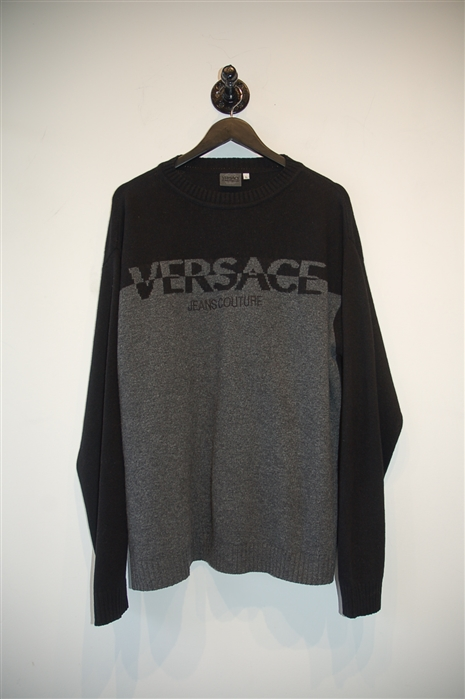 Black & Gray Versace Jeans Couture Pullover, size L