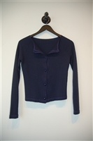 Navy Chanel Cardigan, size 2