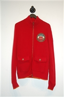 Bright Red Iceberg Zippered Sweater, size L