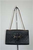 Black Leather Gucci Shoulder Bag, size M