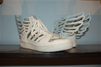 Ivory Jeremy Scott x Adidas High-Top Sneakers, size 11
