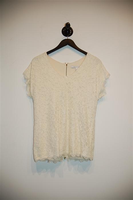 Cream Diane von Furstenberg Short-Sleeved Top, size S