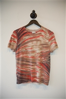 Abstract Print TSE Cashmere Short-Sleeved Top, size L