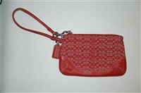 Red & White Coach Wristlet, size S