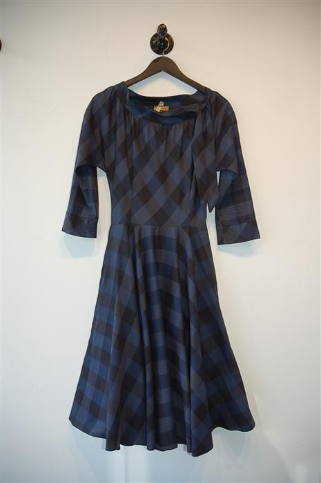 Blue Check Lena Hoschek A-Line Dress, size S
