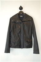 Black Leather Vince Leather Jacket, size L