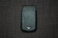 Black Leather Prada Phone Case, size O/S