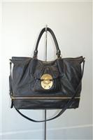 Black Leather Miu Miu Satchel, size L