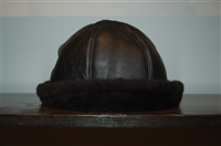 Black Leather No Label Hat, size O/S